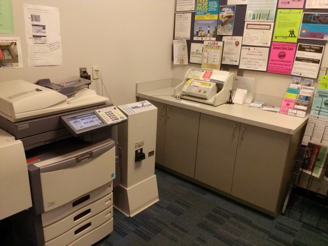Copies? Faxing? Xerox on the left-- Fax machine on the right--- Come on in!