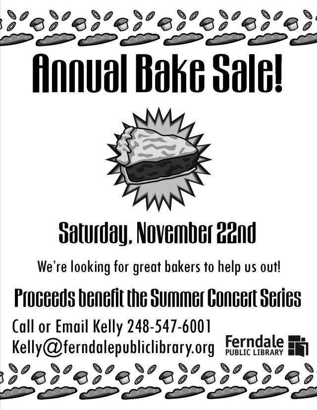 2014 Fall Bake Sale Flyer