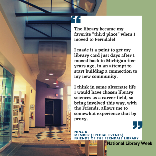 I love working with the public and connecting people with resources they may not have known that they had access to.. I love that because all libraries share a common goal, there's very little competition and i (8)
